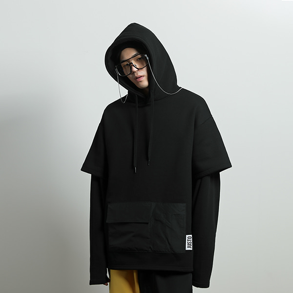 layered pocket hoodie[black]