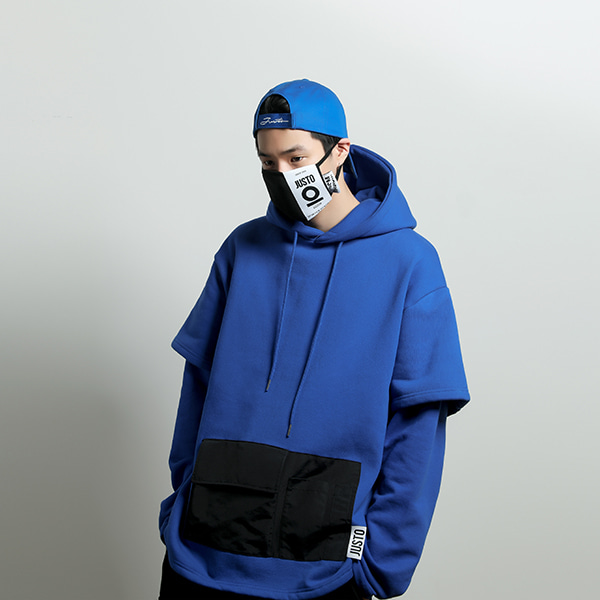 layered pocket hoodie[blue]
